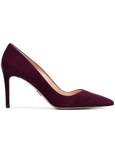 Prada Red Court 85 Suede Leather Pumps - Farfetch