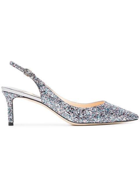 Jimmy Choo Metallic Erin 60 Glitter Slingbacks - Farfetch