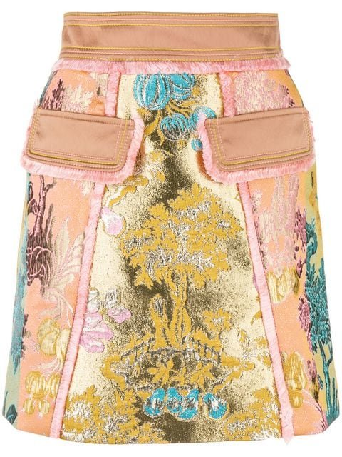 Peter Pilotto Floral Jacquard Metallic Skirt - Farfetch