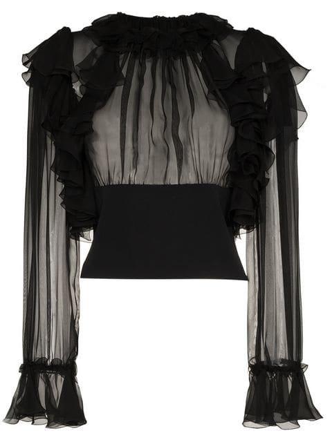 Dolce & Gabbana Ruffle Sleeve Sheer Silk Blouse - Farfetch