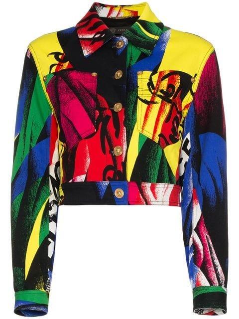 Versace Cropped Print Denim Jacket - Farfetch