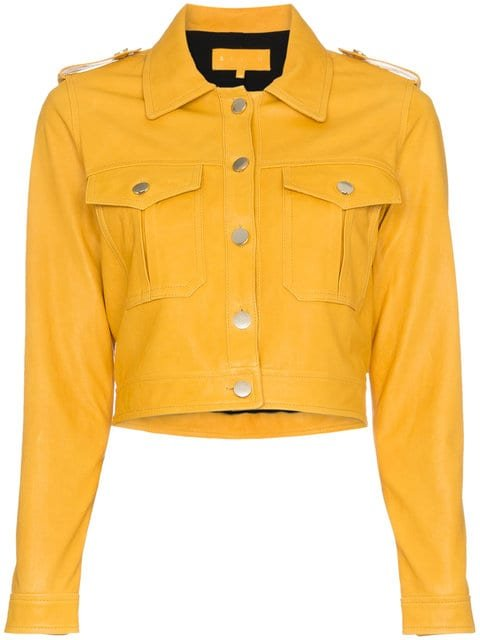 Skiim Yellow Cropped Leather Jacket - Farfetch