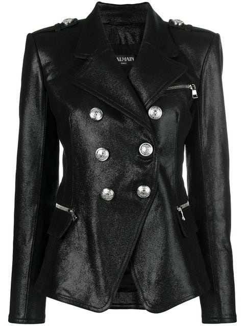 Balmain Double-breasted Leather Jacket - Farfetch