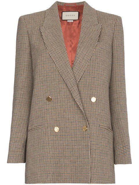 Gucci Houndstooth Linen Jacket With Back Patch - Farfetch