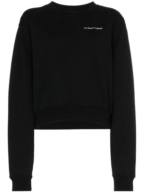 Off-White Long Sleeve Cropped Logo Embroidered Cotton Sweatshirt - Farfetch