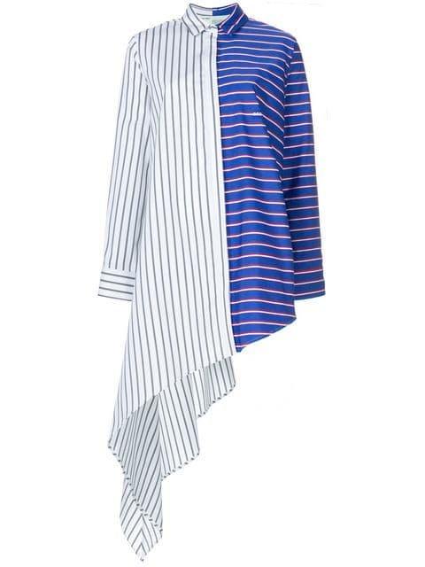 Off-White Striped Asymmetric Shirt - Farfetch
