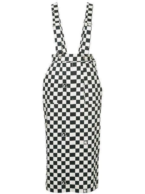 G.V.G.V. Dungaree-style Checkered Skirt - Farfetch