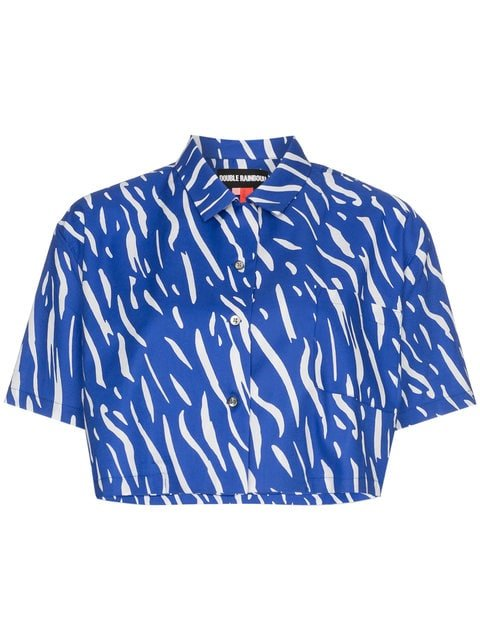 Double Rainbouu Sound Wave Printed Cropped Cotton Shirt - Farfetch