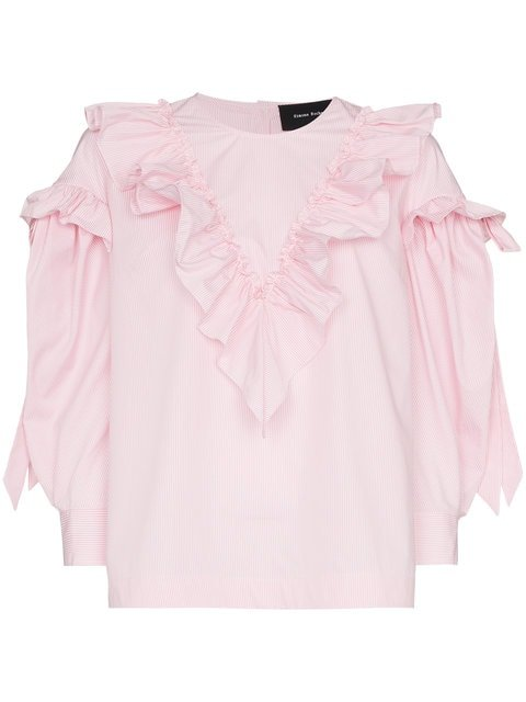Simone Rocha Stripe Ruffle Cotton Long Sleeve Blouse - Farfetch