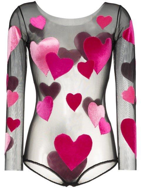 Alexia Hentsch Hearts Applique Round Neck Bodysuit - Farfetch