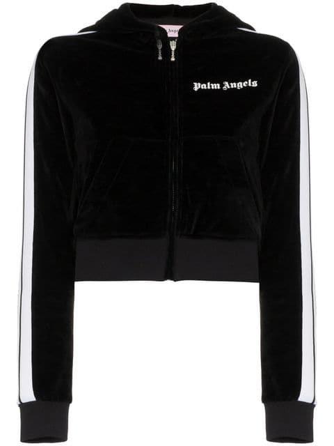 Palm Angels Logo Print Velvet Cotton Blend Cropped Zip Hoodie - Farfetch