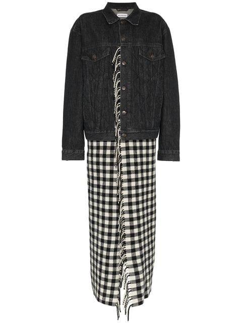 Balenciaga Fringes Blanket Virgin Wool Denim Jacket - Farfetch
