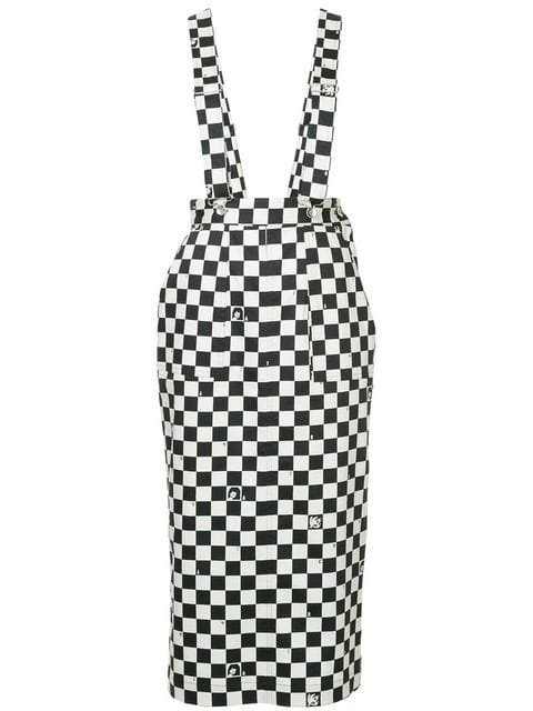 G.V.G.V. Dungaree-style Checkered Skirt - Farfetch