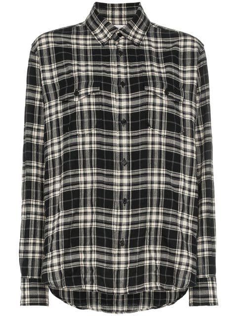 Saint Laurent Plaid Button Down Cotton Blend Shirt - Farfetch
