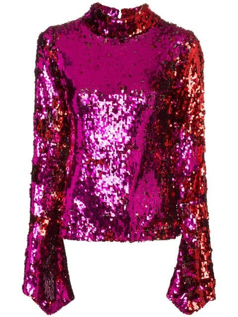 Halpern Sequin Top With Flared Sleeves - Farfetch