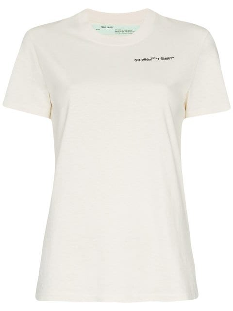 Off-White White Logo Embroidered Short Sleeve Cotton T Shirt - Farfetch