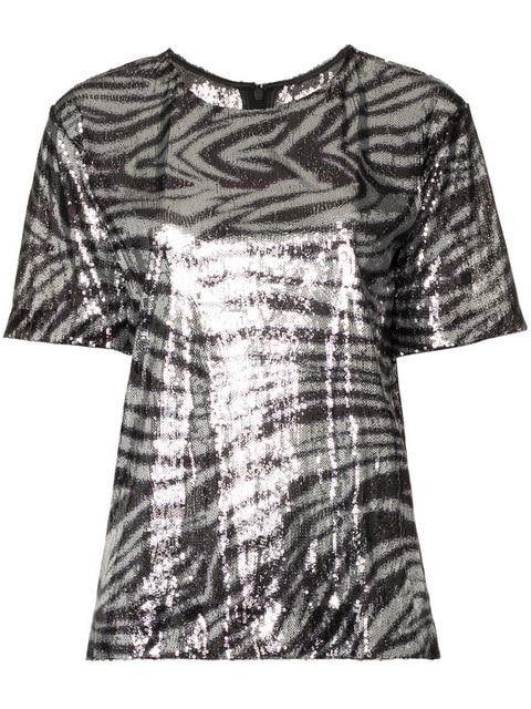Halpern Zebra Stripe Sequin Embellished Top - Farfetch