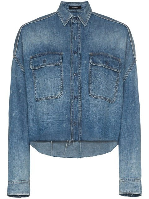 R13 Cropped Denim Shirt - Farfetch