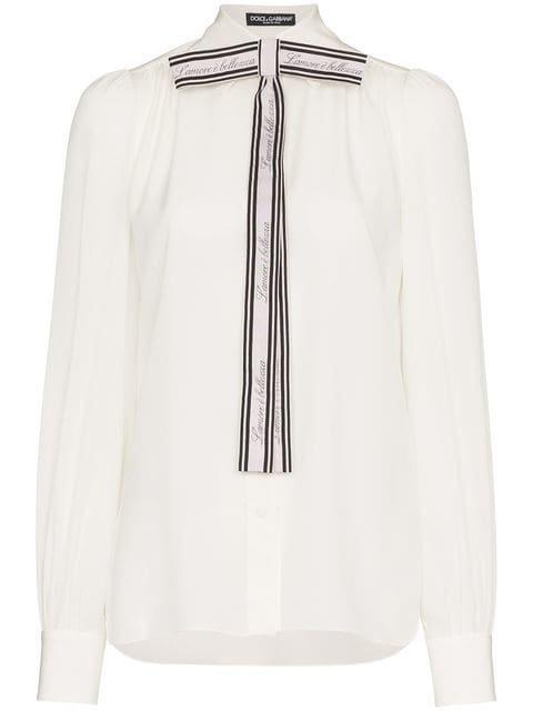 Dolce & Gabbana Front Logo Bow Blouse - Farfetch