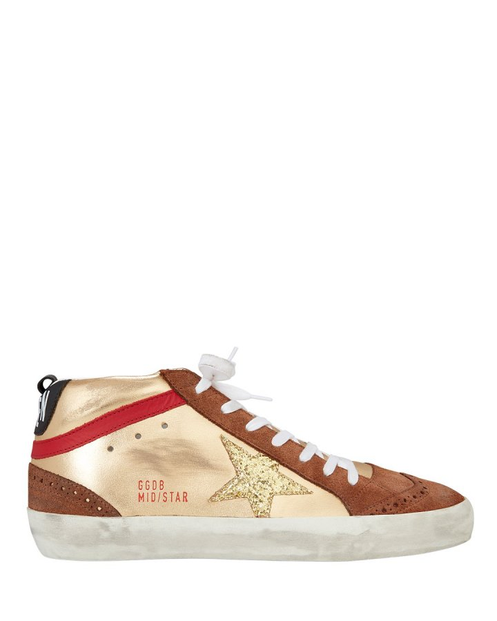 Mid Gold Glitter Star Sneakers