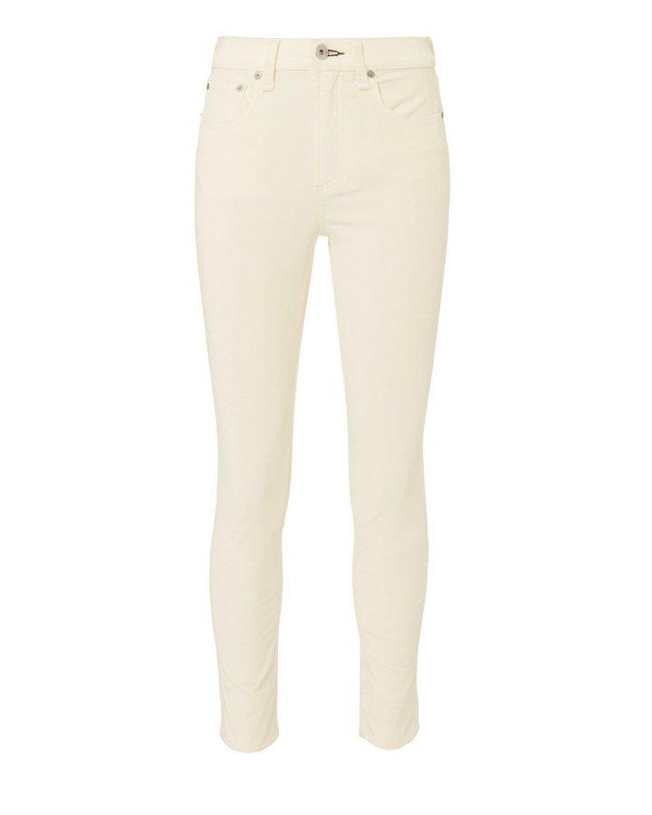 High-Rise White Velvet Skinny Jeans