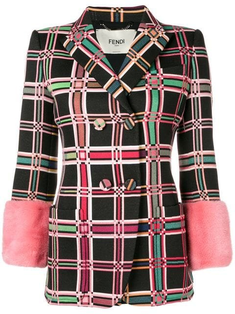 Fendi Check Pattern Fitted Jacket - Farfetch