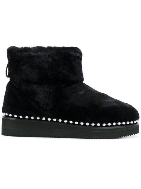 Alexander Wang Fur Boots With Studded Trim - Farfetch