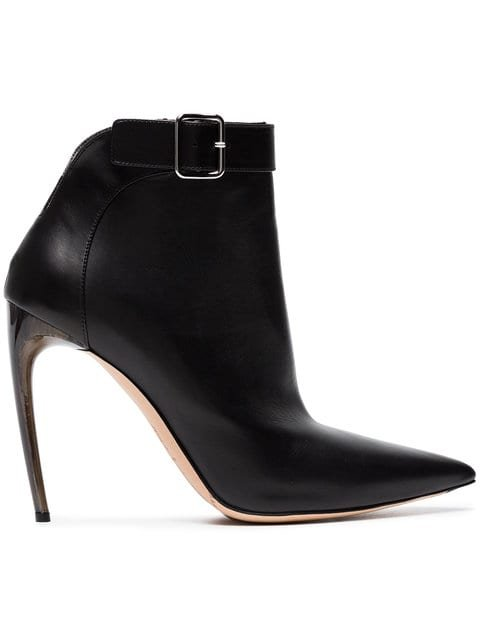 Alexander McQueen Black Pointed 105 Leather Ankle Boots - Farfetch
