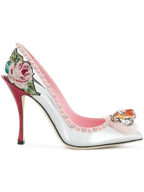 Dolce & Gabbana Tiger Front Stud And Floral Detailed Pumps - Farfetch
