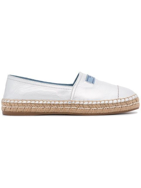 Prada Silver Logo Leather Espadrilles - Farfetch