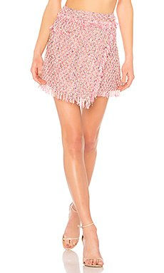 Fringe Mini Wrap Skirt                                             MILLY
