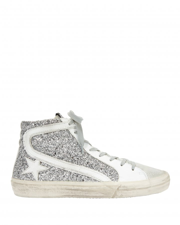 Slide Silver Glitter Hi Top Sneakers