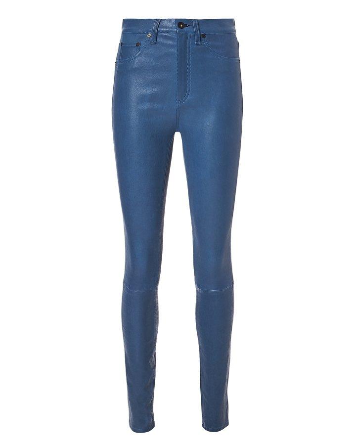Blue Skinny Leather Pants