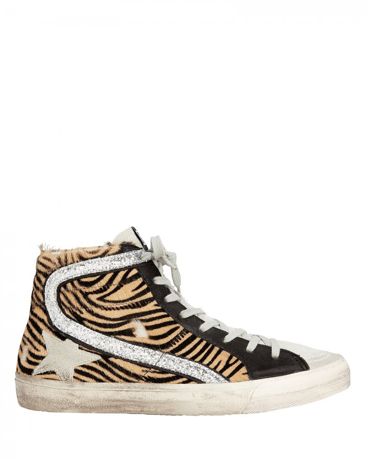 Slide Zebra Haircalf High-Top Sneakers