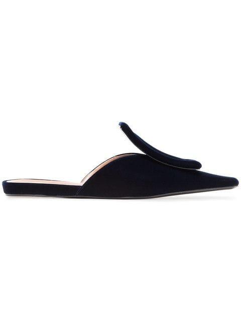 Marni Blue Square Toe 10 Velvet Mules  - Farfetch