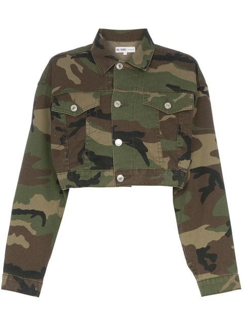Re/Done Cropped Camouflage Cotton-blend Jacket  - Farfetch