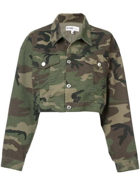 Re/Done Camouflage Print Cropped Jacket - Farfetch