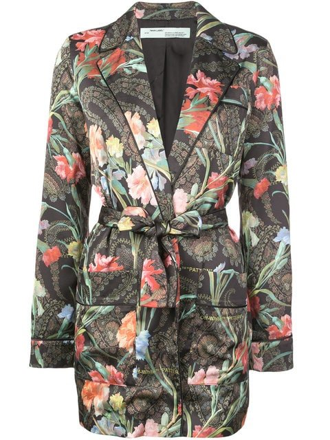 Off-White Floral Belted Jacket - Farfetch