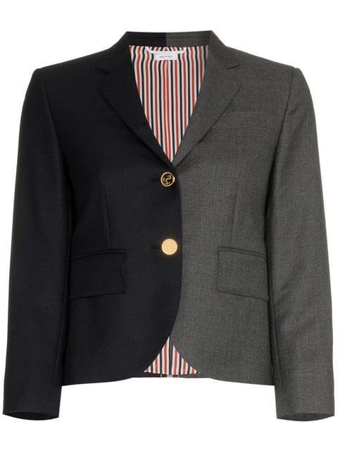 Thom Browne Stripe Detail Two-tone Silk Blazer - Farfetch