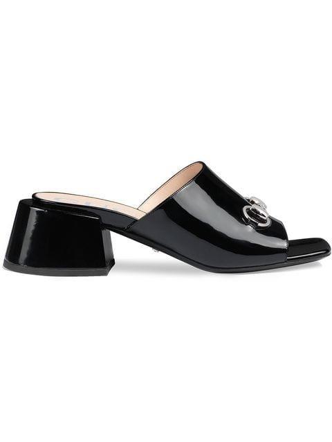 Gucci Patent Leather Mid-heel Slides - Farfetch