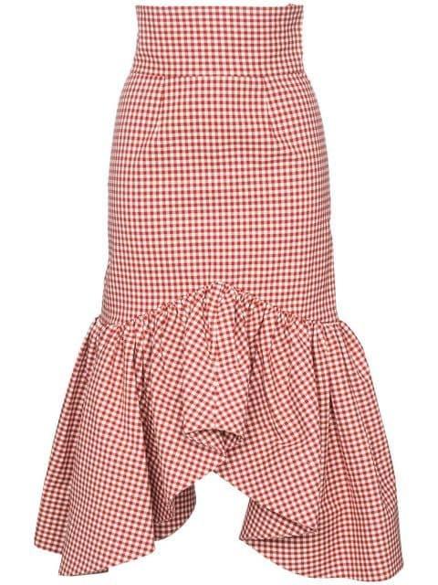 Shushu/Tong Ruffle Trim Gingham Pencil Skirt - Farfetch