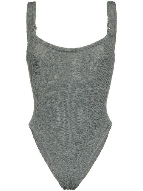 Hunza G Isolde Domino Seersucker Swimsuit - Farfetch