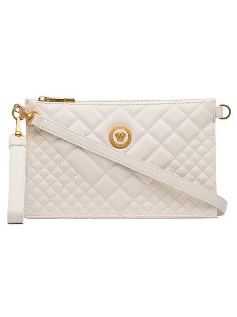 Versace Nude Medusa Quilted Leather Clutch Bag - Farfetch