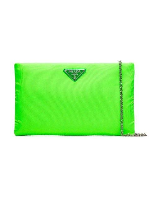 Prada Fluorescent Green Logo Nylon Clutch Bag - Farfetch
