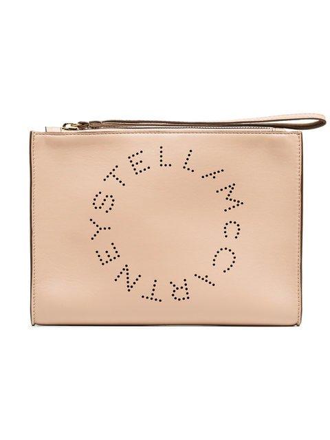 Stella McCartney Light Rose Logo PU Clutch - Farfetch