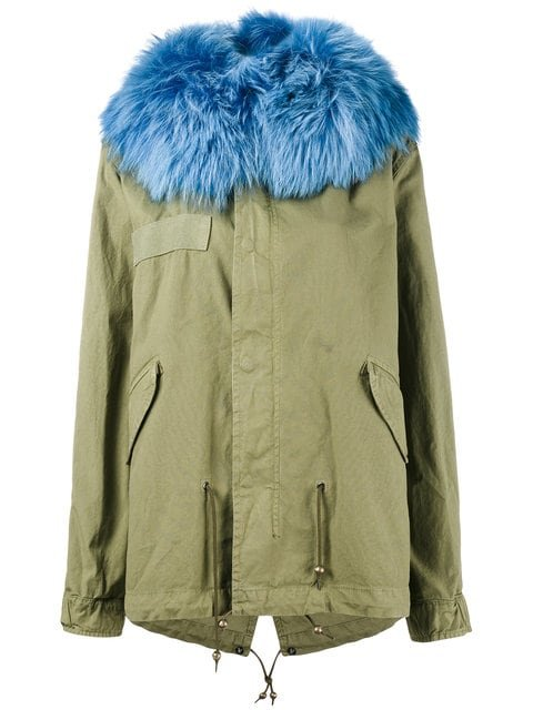 Mr & Mrs Italy Blue Raccoon Fur Trimmed Parka Jacket - Farfetch