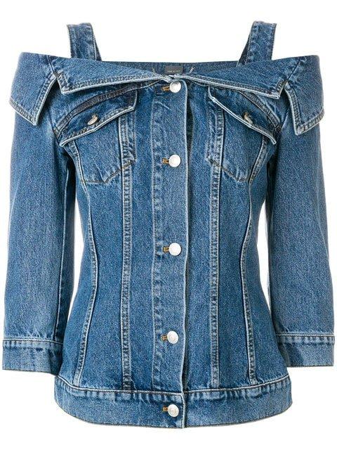 Alexander McQueen Cold Shoulder Denim Jacket - Farfetch
