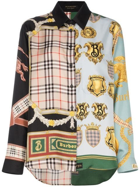 Burberry Scarf Patchwork Print Silk Shirt - Farfetch