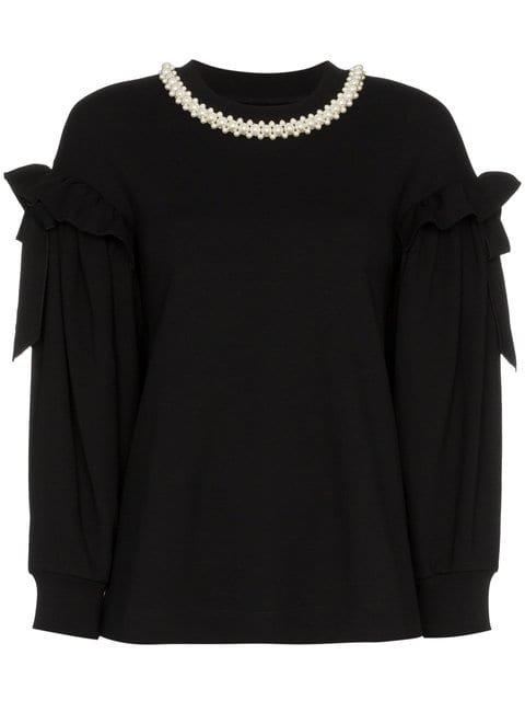 Simone Rocha Pearl Embellished Collar Top  - Farfetch