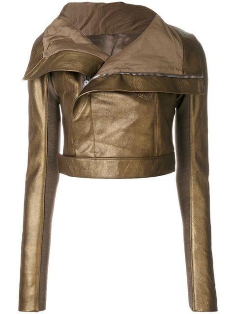 Rick Owens Metallic Cropped Biker Jacket - Farfetch